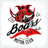Vintage American furious boar bikers club tee print vector design  on white background. Stock Images