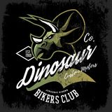 Vintage American furious dinosaur bikers club tee print vector design Royalty Free Stock Photography