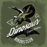 Vintage American furious dinosaur bikers club tee print vector design. Royalty Free Stock Photography