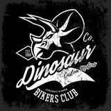 Vintage American furious dinosaur bikers club tee print vector design. Royalty Free Stock Photos