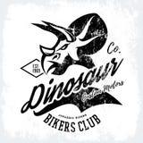 Vintage American furious dinosaur bikers club tee print vector design. Savage monster street wear t-shirt emblem Stock Photography