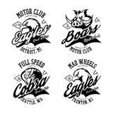 Vintage American furious eagle, boar and cobra bikers club tee print vector design set. Street wear t-shirt emblem. Premium quality wild animal, snake and bird Royalty Free Stock Photo
