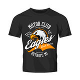 Vintage American furious eagle custom bike motor club tee print  design isolated on black t-shirt mockup. Royalty Free Stock Images