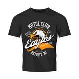 Vintage American furious eagle custom bike motor club tee print  design isolated on black t-shirt mockup. Michigan, Detroit street wear t-shirt emblem. Premium Royalty Free Stock Images