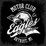 Vintage American furious eagle custom bike motor club tee print vector design isolated on dark background. Stock Images