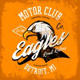 Vintage American furious eagle custom bike motor club tee print vector design isolated on orange background. Michigan, Detroit street wear t-shirt emblem Stock Photo