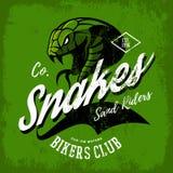 Vintage American furious green snake bikers club tee print vector design. Street wear mascot t-shirt emblem Royalty Free Stock Image