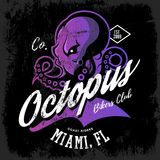 Vintage American furious octopus bikers club tee print vector design  on dark background. Royalty Free Stock Photography