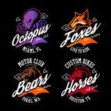 Vintage American furious octopus, fox, bear, horse bikers club tee print vector design set. Street wear mascot t-shirt emblem. Premium quality wild animal stock illustration