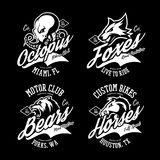 Vintage American furious octopus, fox, bear, horse bikers club tee print vector design set. Royalty Free Stock Photo