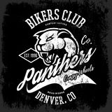 Vintage American furious panther bikers club tee print vector design  on dark background. Royalty Free Stock Photo