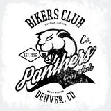 Vintage American furious panther bikers club tee print vector design isolated on white background. Stock Photos
