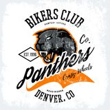 Vintage American furious panther bikers club tee print vector design  on white background. Stock Photography