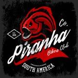 Vintage American furious piranha bikers club tee print vector design  on black background.  Royalty Free Stock Photos