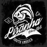 Vintage American furious piranha bikers club tee print vector design  on black background.  Stock Photo