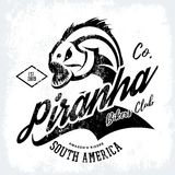 Vintage American furious piranha bikers club tee print vector design isolated on black background.  Stock Image