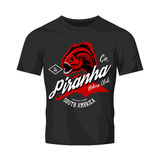 Vintage American furious piranha bikers club tee print vector design isolated on black t-shirt mockup.  Stock Photo