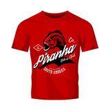 Vintage American furious piranha bikers club tee print vector design isolated on red t-shirt mockup.  Stock Photography