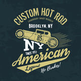 Vintage American hot rod. Old grunge effect tee print vector design illustration. nPremium quality superior retro car logo concept. NY shabby t-shirt emblem Stock Images