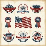 Vintage American labels set. A set of fully editable vintage American labels and badges in woodcut style. EPS10 vector illustration Royalty Free Stock Images