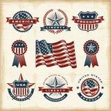 Vintage American labels set. A set of fully editable vintage American labels and badges in woodcut style. EPS10 vector illustration Vector Illustration