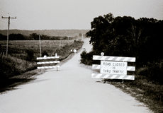 Vintage American Life - Closed road thru traffic Royalty Free Stock Photography