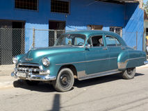 Vintage american metallic car in Cuba. Royalty Free Stock Photography