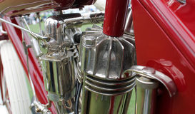 Vintage american motorcycle engine close up. Close up of classic American motorcycle engine indian early twentieth century Royalty Free Stock Photo