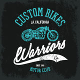 Vintage American motorcycle. Old grunge effect tee print vector design. nPremium quality superior bike retro logo concept. Motor club shabby t-shirt and hoodie Royalty Free Stock Images