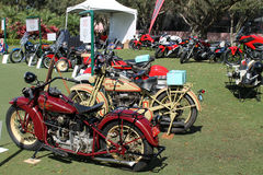 Vintage american motorcycles. Classic pre-war or pre-World War II motorcycles in a lineup on exhibit outdoors in sunny south Florida 1929 Harley Davidson JD Stock Images