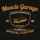 Vintage american muscle car for printing with grunge texture. Royalty Free Stock Photography