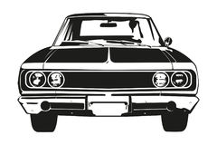 Vintage American Muscle Car from the 1960s. Front view silhouette of vintage american muscle car Stock Photo