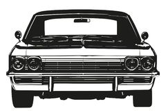 Vintage american muscle car from the 1970s silhouette. Vintage american muscle car from the 1970s, front view vector illustration royalty free illustration