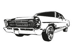 Vintage American Muscle Car. Silhouette of vintage American Muscle Car from the 1960s Stock Photos