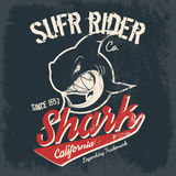 Vintage American old grunge effect tee print vector design. Premium quality superior shark retro logo concept. Shabby t-shirt and hoodie emblem Stock Images