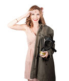 Vintage american pinup girl. Army style Royalty Free Stock Photography