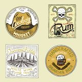 Vintage American rum wine whiskey beer badge. Alcohol Label with calligraphic elements. Classic frame for poster banner. Strong drink. Hand drawn engraved vector illustration