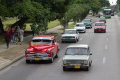 Vintage American and Soviet cars Royalty Free Stock Photos