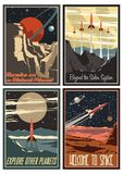 Vintage American Space Posters from the 1950s. Set of Vector Space Propaganda Posters. American Mid Century Retro Futurism and Sci-fi Stylization royalty free illustration