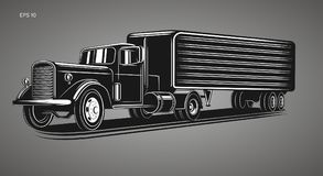 Vintage american truck vector illustration. Retro freighter truck. Cargo delivery machine Royalty Free Stock Photo