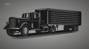 Vintage american truck vector illustration. Retro freighter truck. Cargo delivery machine Stock Photography