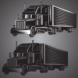 Vintage american truck vector illustration. Retro freighter truck. Cargo delivery machine. Stock Photo
