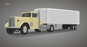 Vintage american truck vector illustration. Retro freighter truck. Cargo delivery machine Stock Image