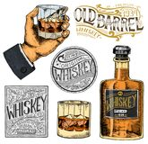 Vintage American whiskey badge. Alcoholic Label with calligraphic elements. Hand drawn engraved sketch lettering for t. Shirt. Classic frame for bottle poster royalty free illustration