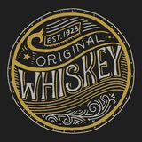 Vintage American whiskey badge. Alcoholic Label with calligraphic elements. Hand drawn engraved sketch lettering for t. Shirt. Classic frame for bottle poster vector illustration