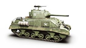 Vintage American World War 2 armored medium combat tank on a white background. WWII stock illustration