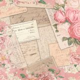 Vintage Americana Ephemera - Roses Shabby Pattern - Watercolor Accent Scrapbook Paper Design. Vintage rose floral patterned border combined with Americana Stock Images