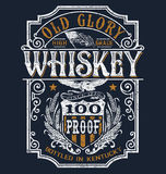 Vintage Americana Whiskey Label T-shirt Graphic.  Stock Photos