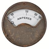 Vintage ammeter. With non linear scale. Cast iron case with white scale. Isolated on white royalty free stock images