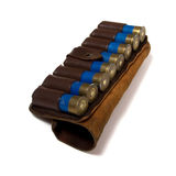 Vintage ammunition belt isolated. On white Stock Images